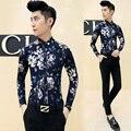 2016 de la moda de primavera camisa de la flor camisa de manga larga delgada masculina camisa de estampado floral