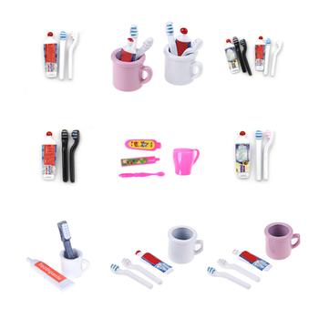 1 zestaw 1 12 Dollhouse miniaturowa Mini pasta do zębów szczoteczka do zębów kuchnia zabawkowe meble prezent kolekcjonerski miniaturowe zabawki tanie i dobre opinie KittenBaby Other Unisex Dollhouse cup toothpaste toothbrush 3 lat