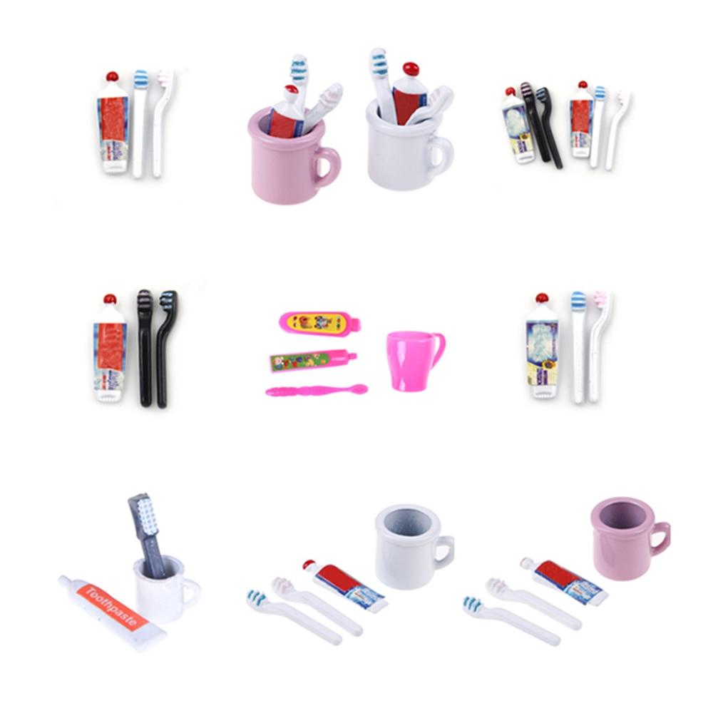 1Set 1:12 Dollhouse Miniature Mini Toothpaste Toothbrush Kitchen Furniture Toy Collectible Gift Miniature Toys