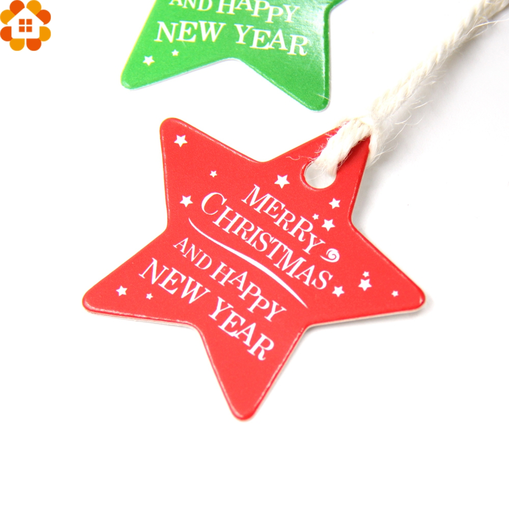 Christmas Labels.Us 2 24 25 Off 100pcs Star Round Paper Tags Christmas Tags Kraft Paper Card Tag Labels Diy Scrapbooking Crafts Christmas Wedding Party Favors In