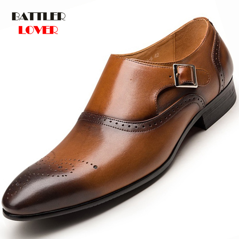 Men Dress Shoes Leather Buckle Strap Office Business Wedding Handmade Mixed Color Brogue Formal Pointed Toe Oxfords Men