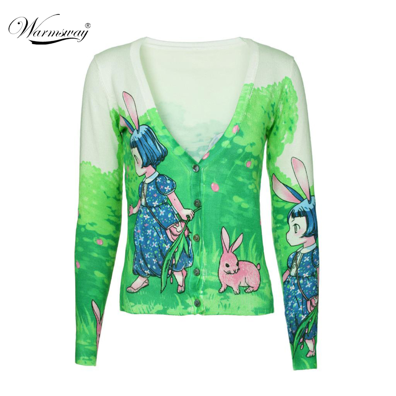 Free shipping 2018 New Woman Sweater Long-sleeved Bunny girl Pattern Lovely Cute Sweater Cardigan Knitted Coat B-046