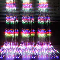 1set 3X3M 320LED Waterfall Curtain Icicle LED String Light Meteor Shower Rain Fairy String Garland Wedding Background Light