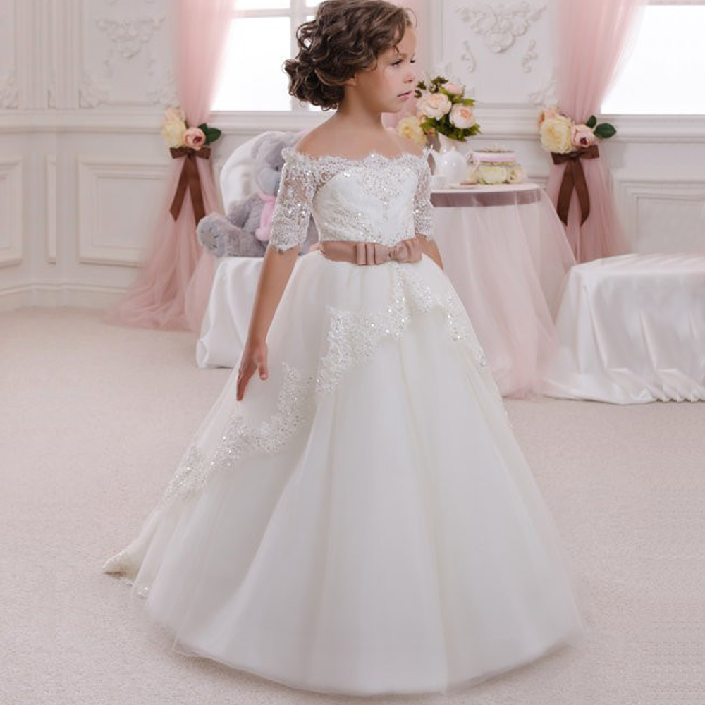 Baby Girl Dress Bridesmaid Bow Lace Girl Wedding Dress Fluffy Ball Gown Birthday Evening Prom Tutu Party Dress Custom Made dress tutu baby solid white bridesmaid flower girl wedding dress tailed tulle fluffy ball gown birthday evening party dress