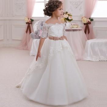 Baby Girl Dress Bridesmaid Bow Lace Girl Wedding Dress Fluffy Ball Gown Birthday Evening Prom Tutu Party Dress Custom Made dress