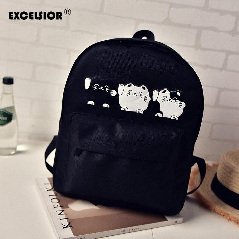 EXCELSIOR Backpack Female Harajuku Style Women Canvas Backpacks Teenage Girls School Bags Cartoon Cat Travel Bag School Backpack