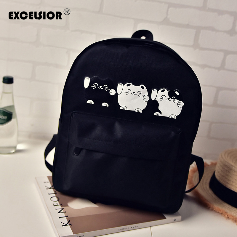 EXCELSIOR Harajuku Style Women Canvas Backpacks Teenage Girls School Bags Cartoon Cat Backpack Female Travel Bag School Backpack