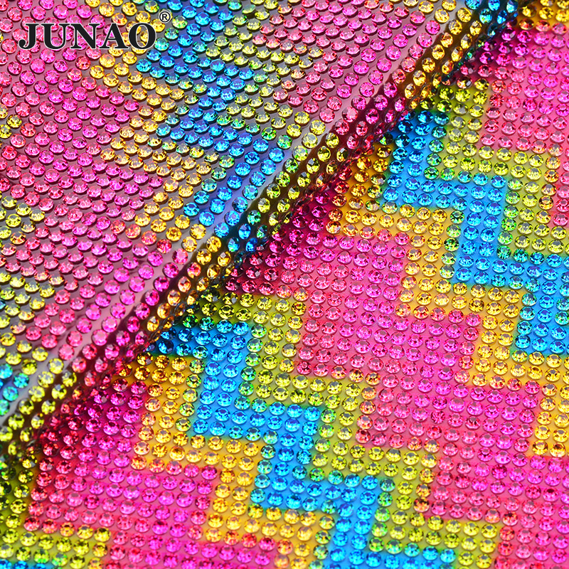 JUNAO 24 40cm Mix Color Glass Rhinestone Mesh Trim Crystal Beads Fabric  Sheet Strass Applique Banding For Dress Jewelry Making-in Rhinestones from  Home ... 04401a293299