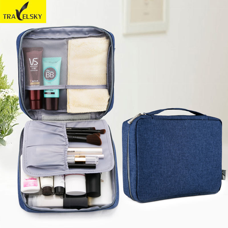 Travelsky New Women Portable Zipper Travel Makeup Organizer Men Storage Wash Pouch Toiletry Cosmetic Bag Make Up Beauty Case pvc transparent wash portable organizer case cosmetic makeup zipper bathroom jewelry hanging bag travel home toilet bag