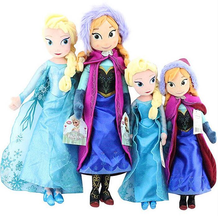 2PCS/LOT 40/50 CM Anna Elsa Doll Plush Toys Stuffed Princess  Stuffed Plush Kids Birthday Christmas Gifts
