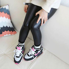 2019 Toddler Girls Baby Stretchy PU Leather Pants Kids Warm Skinny Leggings Trousers New Fashion Girl Black