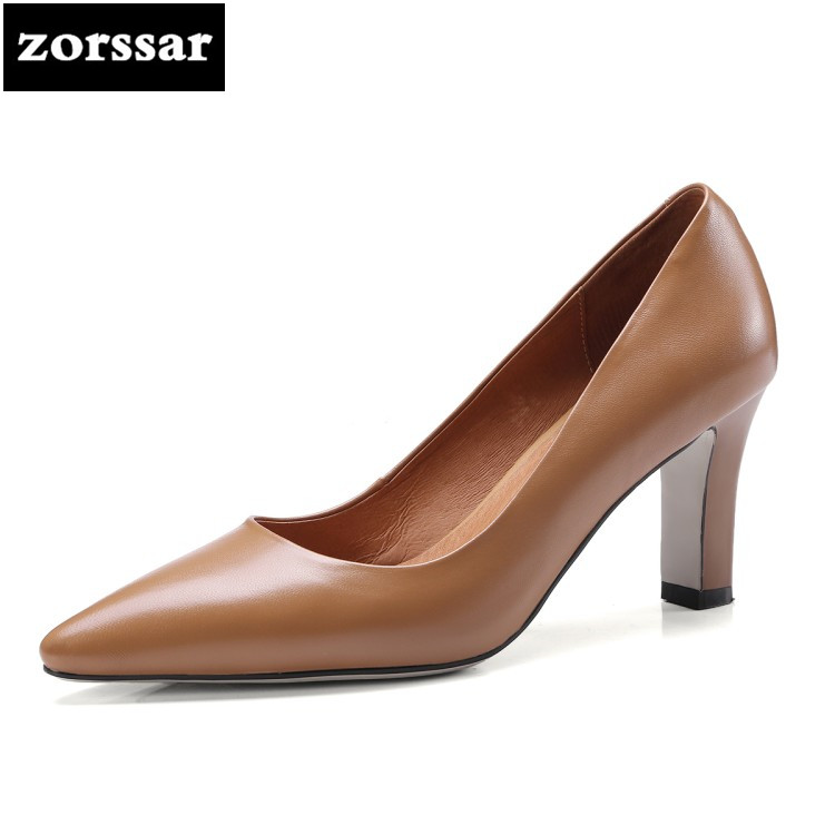 {Zorssar} 2018 New Arrival Genuine Leather fashion womens shoes Slip-on pointed toe High heels pumps ladies dress shoes brown zorssar 2018 new fashion buckle genuine leather thick heel womens shoes heels square toe high heels pumps ladies office shoes