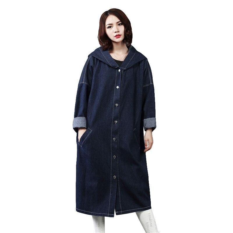 Fashion Plus Size Denim   Trench   Coat Women Spring Oversized Hooded Long Coat 2019 New BF Womens Jean Overcoat Casaco Feminino