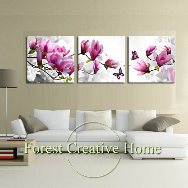 Modern Art Flower Canvas Painting Three Picture Combination Posters And Prints Wall Pictures For Living