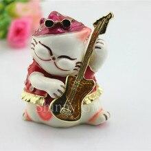Free Shipping Cute Cat Trinket Box Enameled Jewelry Box Home