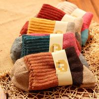 10pcs 5pairs Lot 2015 Folk Style Double Needle Stitching Four Thick Warm Rabbit Wool Terry Autumn