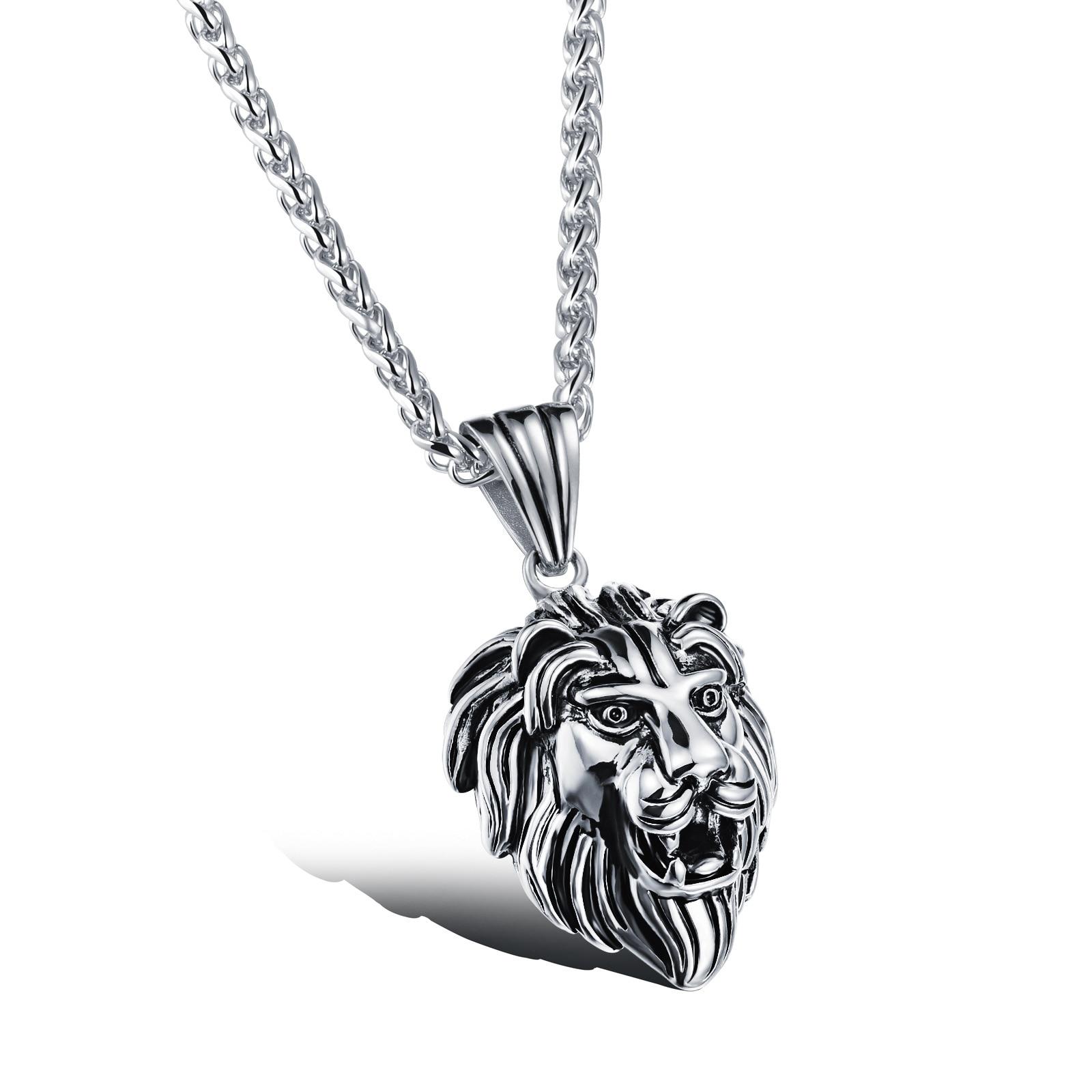 Cantine De Voyage Metallique ჱ316l steel lion head man's pendant necklaces punk style