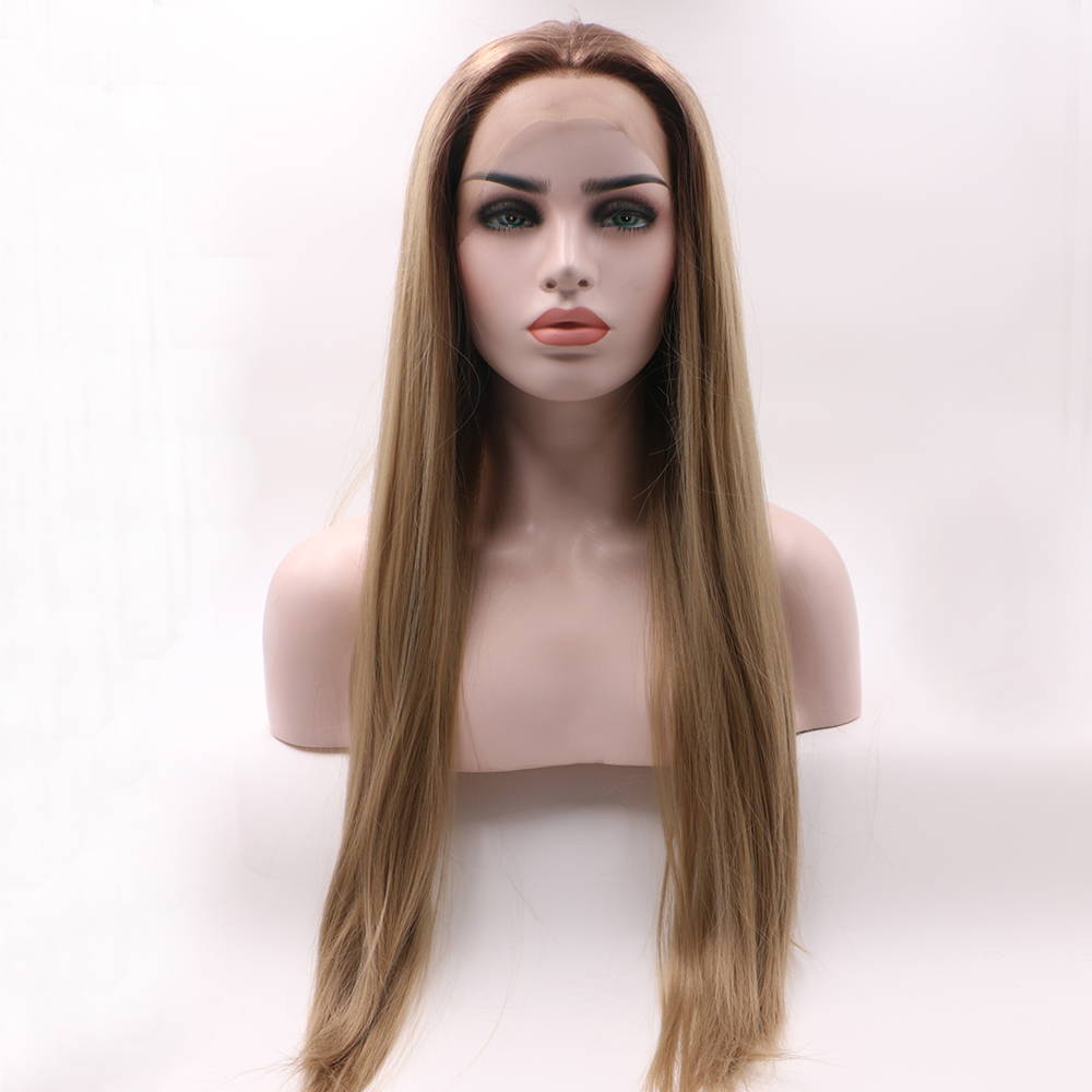 Fantasy Beauty Ombre Long Straight Brown Dark Root Lace Front Wigs 2 Tone Color Heat Resistant