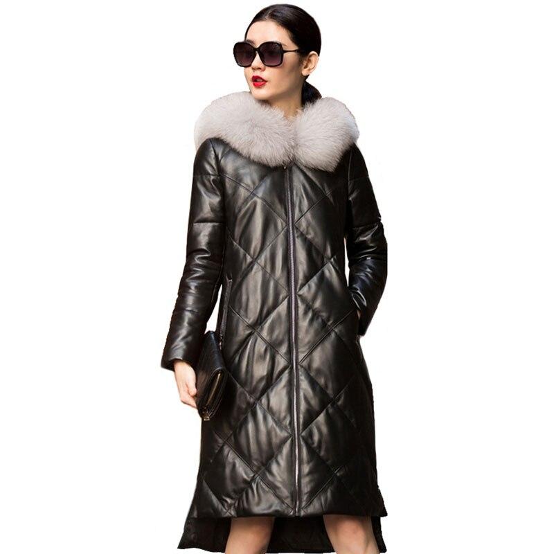 Véritable Veste En Cuir Femmes Fourrure De Renard À Capuchon D'hiver Manteau Femmes Vêtements 2018 Coréen Mince Duvet de Canard Manteau En Peau de Mouton Plus La Taille ZT844