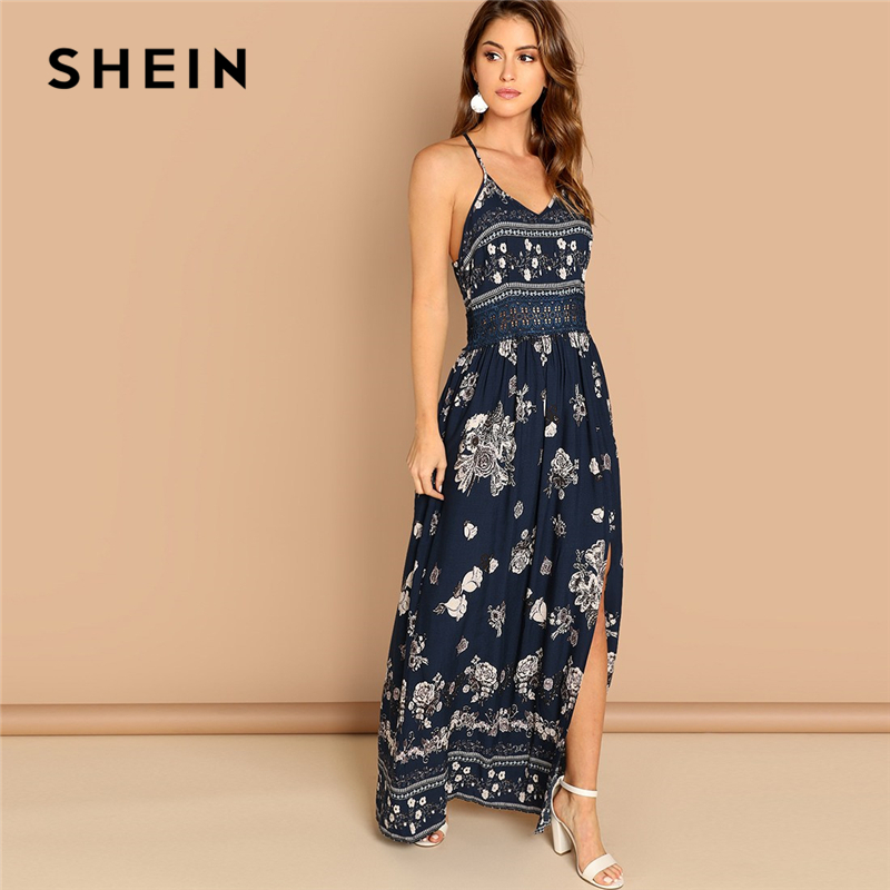 3bb573567e SHEIN Navy Lace Waist Split Front Cami Dress Elegant Slim Floral Print  Sleeveless Dress Autumn Modern Lady Women Party Dresses-in Dresses from  Women's ...