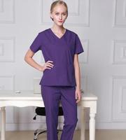 Man&Woman Doctor Scrub Tops 100 cotton Medical scrubs Short sleeve Medical Uniform Scrub Sets