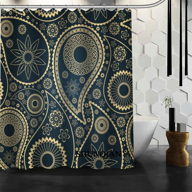 Bathroom Curtains Paisley Shower Curtain Custom Waterproof Polyester Fabric For