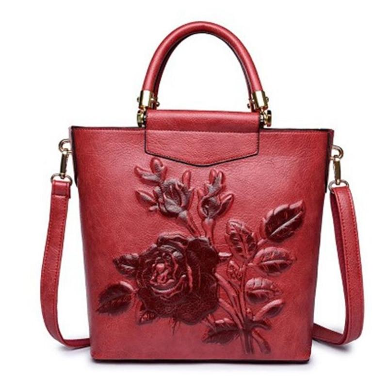 Brand Vintage Chinese National Style PU Leather Women Crossbody Shoulder Bag Female Casual Tote Embossed Flower Girls Handbag