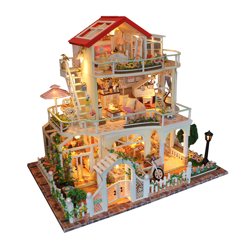 Diy Romantic Glass House 3d Miniature Assemble Mini Princess Room Building Dollhouse With Funitures Toys Christmas Birthday Gift Top Watermelons Toys & Hobbies Model Building