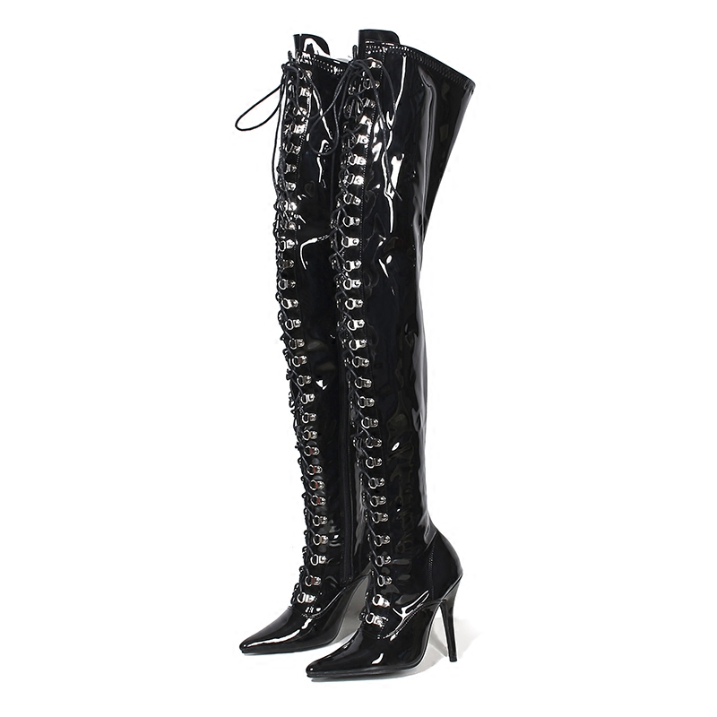 Boots Women Shoes High Heels Thigh Boots Glossy Leather Lace Up Fashion Over Knee Fenty Beauty Gothic Shoes Ladies Winter Boots