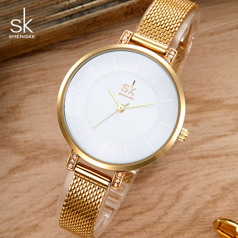 Shengke Luxury Stainless Steel Watches Women Clock Ladies Gold Bracelet Watches Relogio Feminino 2019 Quartz Wristwatch #K0033