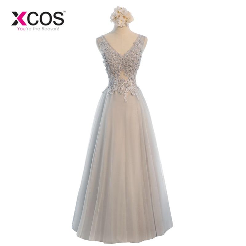 XCOS Custom Made 2018 A Line V-neck Sleeveless Lace Tulle Long Cheap   Bridesmaid     Dresses   Grey Wedding Party   Dresses   vestido longo