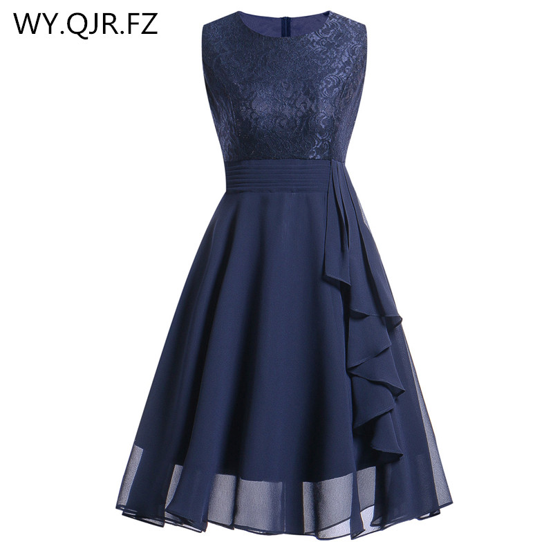 Oml522lchiffon And Lace Navy Blue Short Bridesmaid Dresses Weddiong Party Dress 2018 Prom Gown Women Fashion Wholesale Clothing