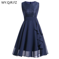 OML522L#Chiffon and Lace navy blue Short Bridesmaid Dresses Weddiong Party Dress 2018 Prom Gown Women Fashion Wholesale Clothing
