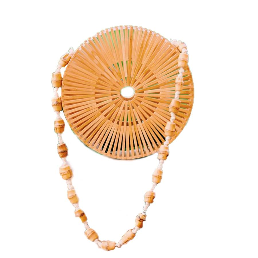 New Fashion Ladies Hand-woven Bamboo Bag Retro Beach Round Bamboo Package Bohemian Shoulder Messenger Bag цена