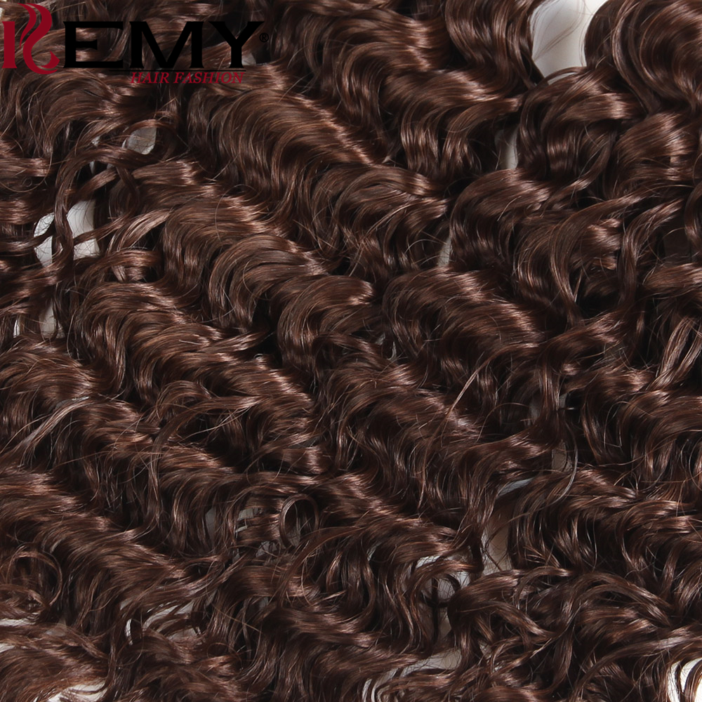 KEMY HAIR Heat Resistant Synthetic Hair Weave Bundles 16161818 Medium Brown4# Loose Deep Synthetic Hair Extension 4Pcs/Pack