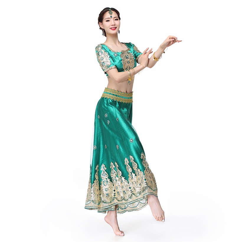 5a108dc57d Indian Outfits Bollywood Traditional Dress Costumes 3pcs Set Top+Belt+Skirt  Women Belly dance Arabic Themed Full Dance Costumes-in Belly Dancing from  ...