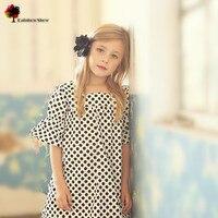 Mandy wish nueva calidad de la marca de ropa de niños niñas primavera verano europa y américa dots elegante vestido de algodón vestido de los cabritos
