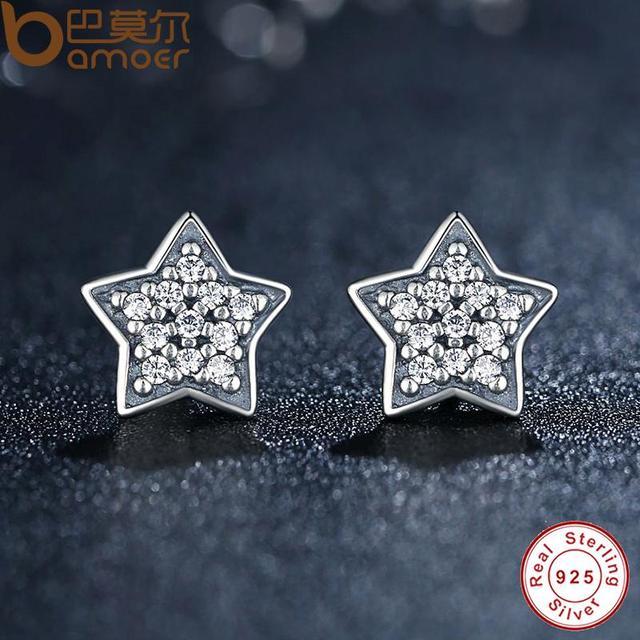 Sterling Silver Five-pointed Star Stud Earrings