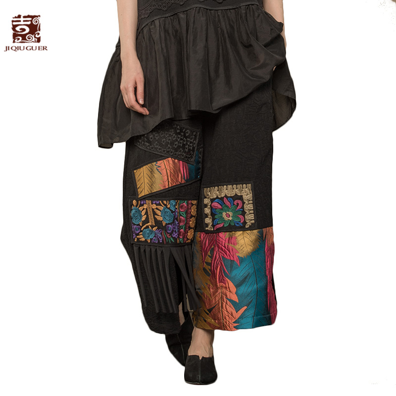 Jiqiuguer Women Patchwork   Wide     Leg     Pants   Jacquard Elastic Waist Embroidery Patch Tassels Loose Plus Size Lady Trousers G173K006