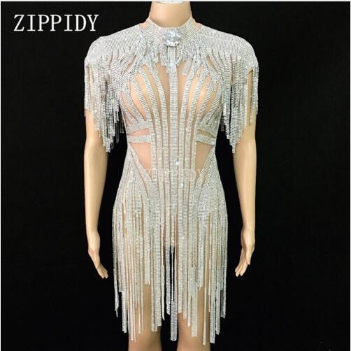 Fashion Sexy Silver Rhinestones Fringes Bodysuit Celebrate Costume Female Singer Bling Tassel Leotard Stage Dance Wear