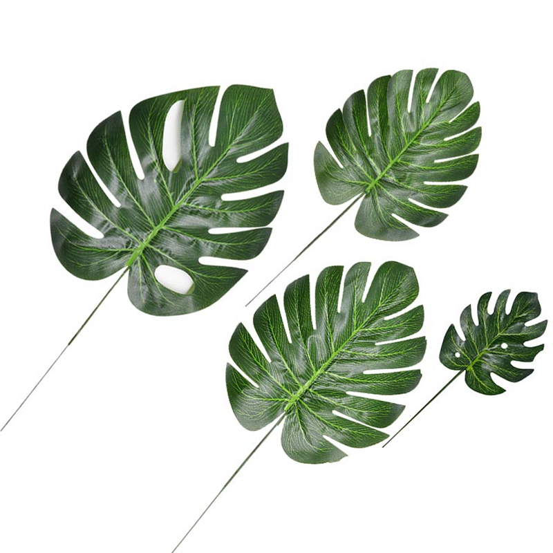 10pcs Fake Faux Artificial Tropical Palm Leaves Green Monstera Leaves For Home Kitchen Party Decorations Handcrafts Wedding DIY