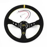 OMP Universal 14inch 350mm Deep Corn Drifting Racing Steering Wheel Suede Leather Slip Resistant Sport Steering Wheel Cover