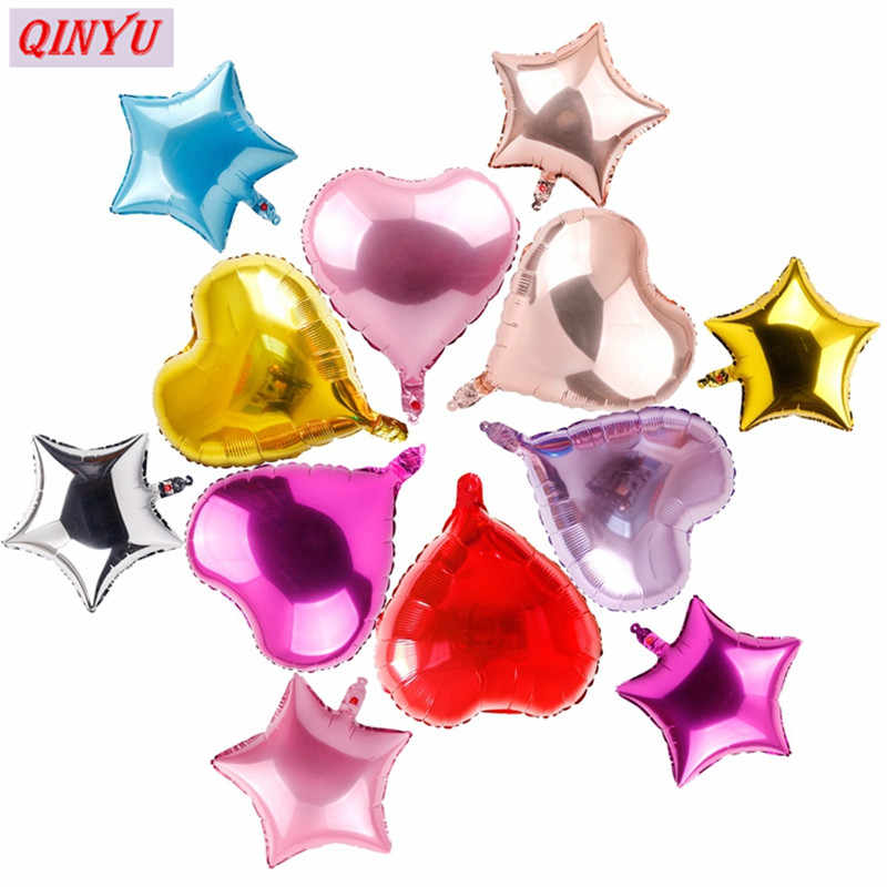 5Pcs/lot 10 Inch 25cm Heart Star Shape Party Balloons Metallic Color Foil Balloons For Wedding Decoration Float Balls 5Z