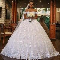 Princess Wedding Dress 2019 Off the Shoulder Bride Dress Wedding Gowns Ball Gown Vestido De Noiva Lace Wedding Dress with Train