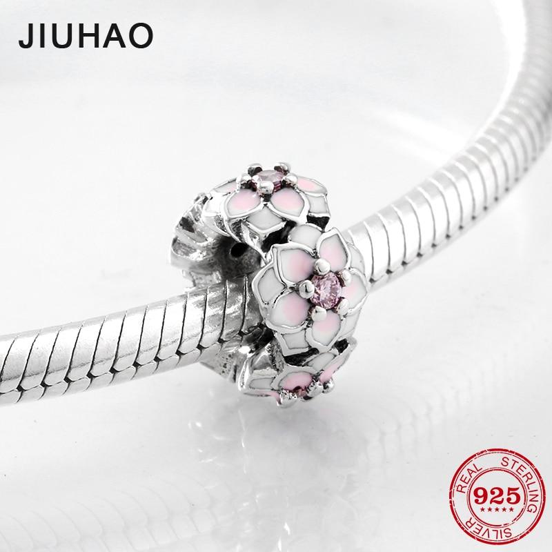 Printemps fleur émail rose CZ entretoise 925 perles en argent Sterling pour la fabrication de bijoux Fit Original Pandora bracelets porte-bonheur bracelets