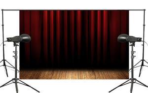 Image 1 - Fondo de cortina de escenario Rojo Negro estratificado fondos de estudio de fotografía 5x7ft stand Shoot Props