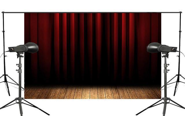 Fondo de cortina de escenario Rojo Negro estratificado fondos de estudio de fotografía 5x7ft stand Shoot Props