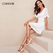 COLROVIE White V Neck Ruffle Cuff Embroidery Zipper Eyelet Schiffy Elegant Short Dress 2019 Summer A Line Party Ladies Dresses