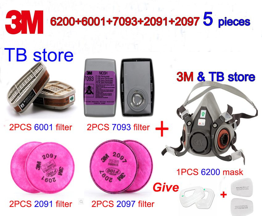 3M 5 Sets Respirator Mask 6200+6001+7093+2091+2097 Combination Gas Mask Multiple Uses With Spray Paint Dust-proof Filter Mask