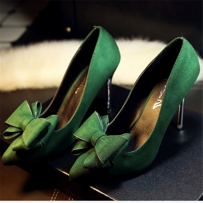 Airfour-Green-bow-9-5cm-High-Heels-Flock-Women-Pumps-Pointed-Toe-High-Heels-Shoes-Woman.jpg_640x640